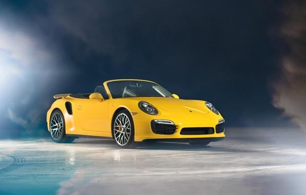 Картинка жёлтый, Porsche, кабриолет, порше, yellow, Cabriolet, 991, Turbo S