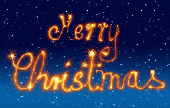 Картинка зима, небо, оранжевый, синий, огни, стиль, сияние, буквы, фон, праздник, голубой, графика, блеск, новый год, ...