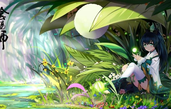 Картинка трава, девушка, цветы, светлячки, аниме, арт, bba biao