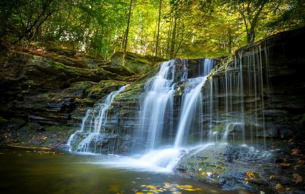 Картинка осень, лес, водопад, Пенсильвания, каскад, Pennsylvania, Ricketts Glen State Park