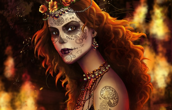 Картинка взгляд, девушка, украшения, лицо, тату, арт, бусы, рыжие волосы, раскрас, Muertos