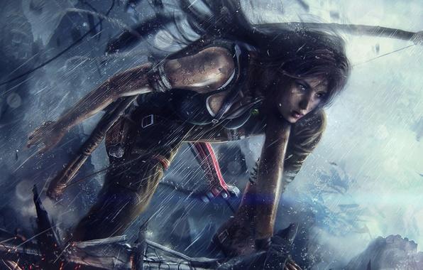 Картинка девушка, дождь, лук, стрелы, lara croft, tomb raider, tomb raider reborn