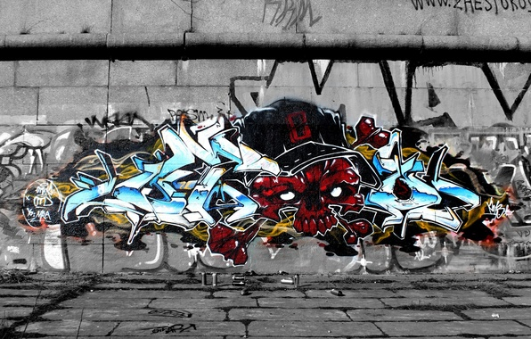 Картинка стена, череп, Граффити, skull, graffiti, wild style, OTD crew
