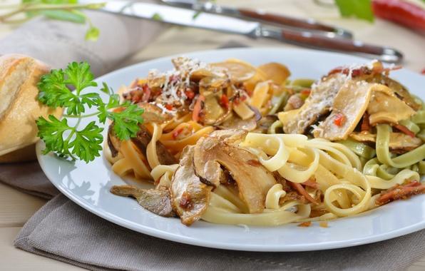 Картинка зелень, грибы, еда, food, mushrooms, паста, herbs, pasta
