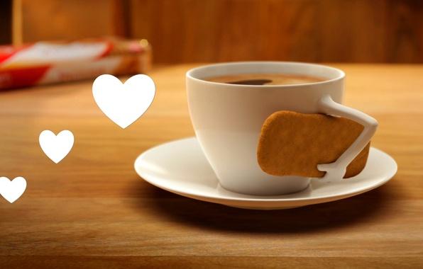 Картинка любовь, сердце, кофе, печенье, чашка, love, heart, cup, coffee, biscuits