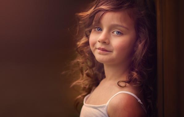Картинка взгляд, улыбка, девочка, рыжая, кудри, рыжеволосая