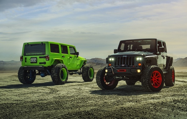 Картинка Green, Black, Forged, Custom, Wrangler, Jeep, Wheels, Track, ADV1, Function