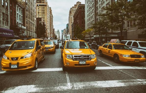 Картинка Manhattan, New York City, street, Taxi