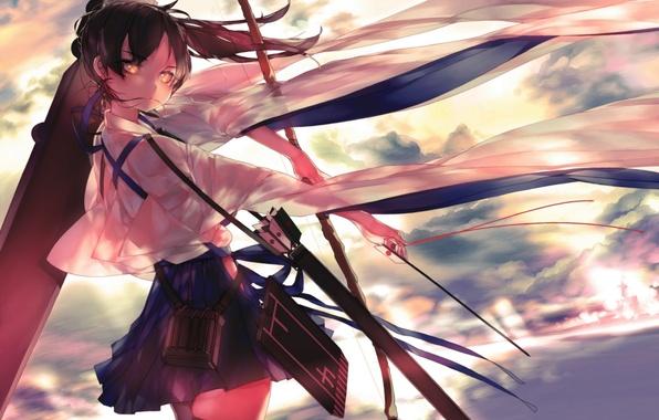 Картинка девушка, оружие, аниме, лук, арт, стрелы, kantai collection, kaga, leung ka che