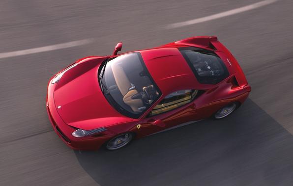 Картинка Красный, Дорога, Машина, Асфальт, Капот, Ferrari, 458, Вид сверху, Italia, Спорткар, В Движении