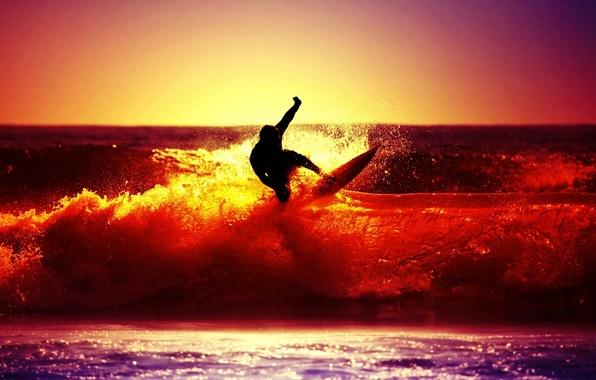 Картинка море, волны, небо, солнце, закат, брызги, река, фон, обои, настроения, спорт, человек, силуэт, серфинг, мужчина, …