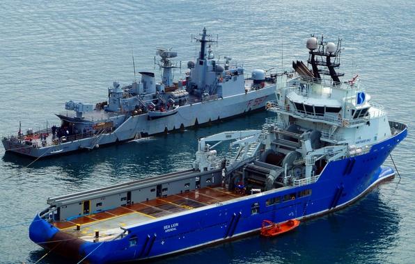 Картинка море, корабль, порт, эсминец