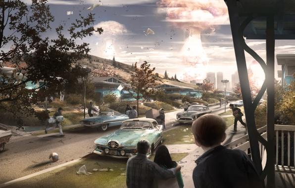 Картинка машины, взрыв, город, люди, улица, дома, concept, атомный взрыв, fallout, паника, concept art, Bethesda Softworks, …