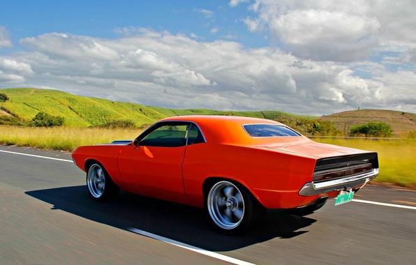 Картинка Dodge, Challenger, 1970, clouds, orange, В движении, sunny, Додж Челленджер, rollin