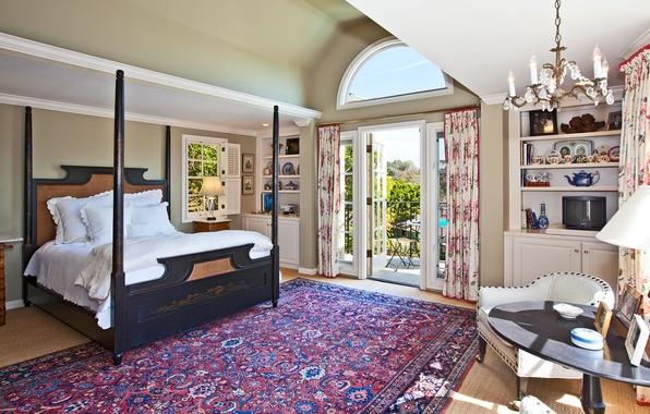 Картинка пейзаж, природа, дом, стол, комната, обои, вилла, кровать, интерьер, ковёр, кресло, телевизор, люстра, wallpaper, балкон, …