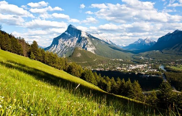 Картинка солнце, облака, горы, долина, Канада, Banff National Park, речка, Canada, леса, Банф
