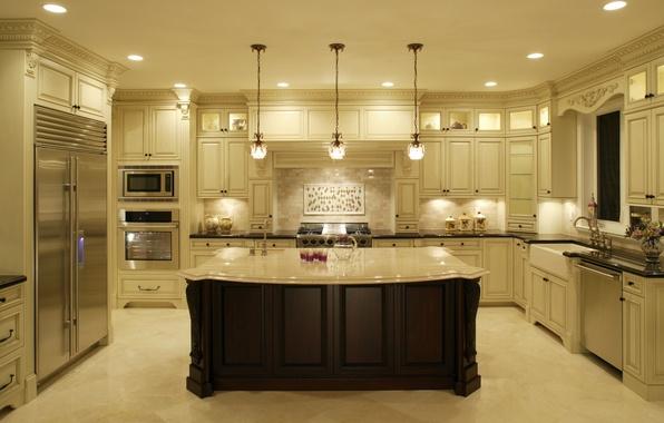 Картинка дизайн, стиль, стол, лампы, мебель, интерьер, кухня, design, interior, класика, kitchen, техника.