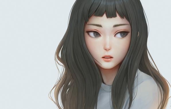 Картинка girl, woman, beautiful, pretty, face, brunette, asian, japanese, waifu