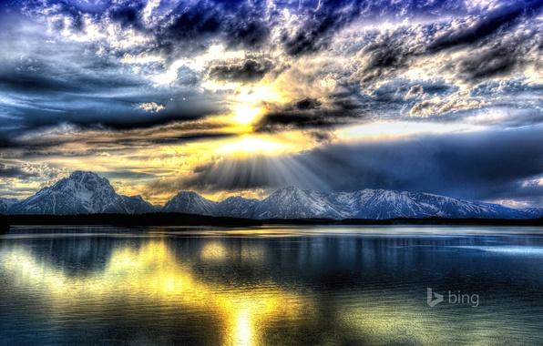 Картинка небо, облака, лучи, горы, озеро, США, Wyoming, Grand Teton National Park, Jackson Lake