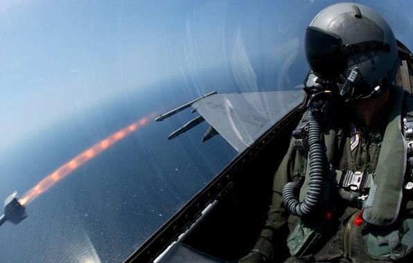 Картинка высота, ракета, истребитель, пилот, запуск
