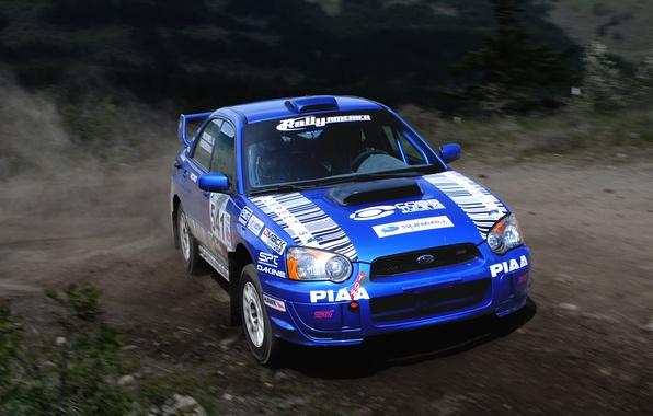 Картинка Авто, Синий, Subaru, Impreza, Машина, Поворот, Занос, wrx, WRC, Rally, Ралли, Передок