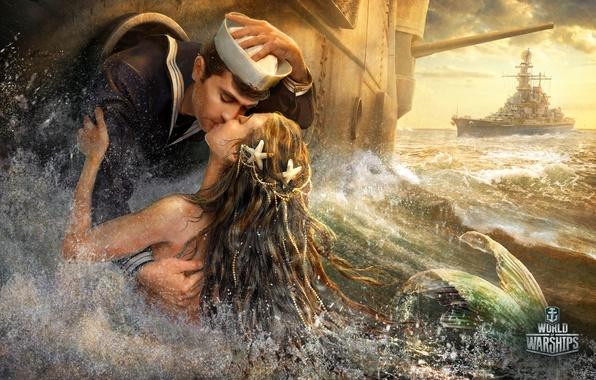 Картинка море, русалка, поцелуй, корабли, фэнтези, моряк, World Of Warship