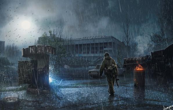Картинка ночь, город, дождь, Stalker, припять