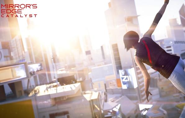 Картинка девушка, солнце, город, игра, вид, Mirror's Edge: Catalyst