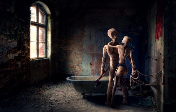 Картинка человечки, разруха, ванная