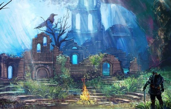 Картинка арт, руины, рыцарь, костёр, ворона, тёмные души, Dark souls, храм огня