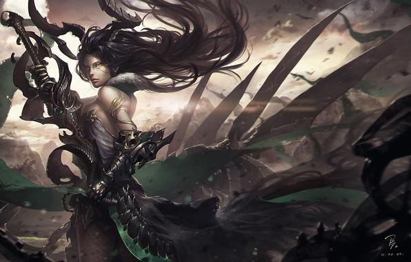 Картинка поза, Девушка, меч, рока