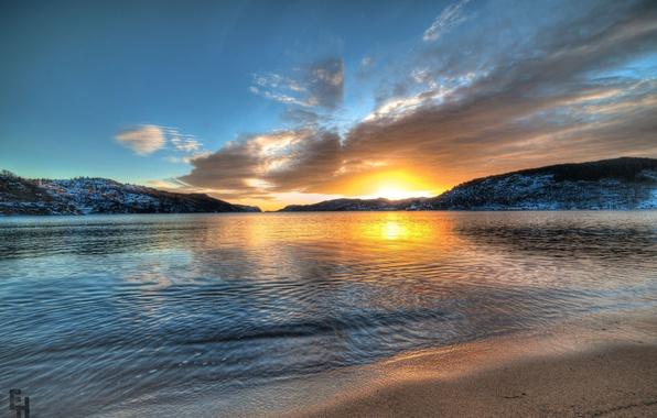 Картинка закат, горы, озеро, Норвегия, Norway