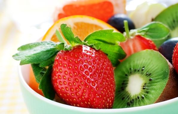 Картинка ягоды, апельсин, киви, клубника, фрукты, fruit, orange, strawberry, berries, kiwi