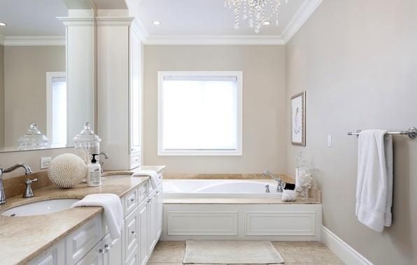 Картинка комната, полотенце, зеркало, окно, ванна, шкаф, ванная