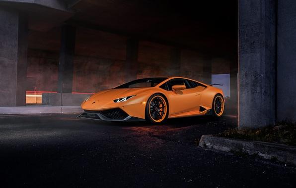 Картинка Lamborghini, Dark, Orange, Front, Color, Tuning, Supercar, Huracan, LP610-4