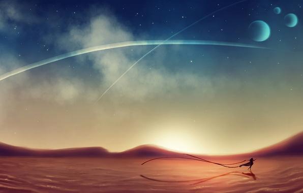 Картинка девушка, пустыня, планеты, танец, звёзды, арт