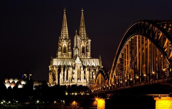 Картинка свет, ночь, мост, город, река, Германия, церковь, Germany, Deutschland, Кёльнский собор, Kölner Dom, Кёльн, Cologne, …