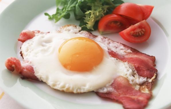 Картинка зелень, яйцо, тарелка, яичница, помидор, бекон, Завтрак