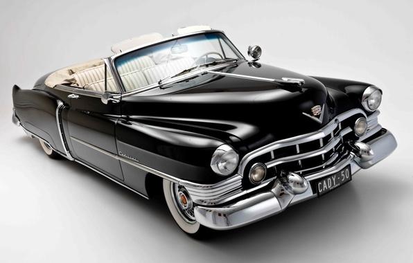 Картинка фон, чёрный, Cadillac, кабриолет, классика, 1950, Convertible, Кадилак, Sixty-Two, Сиксти-Ту
