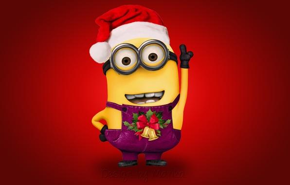 Картинка Новый Год, Рождество, Санта, Christmas, Xmas, cute, santa, миньон, minion, Design by Marika
