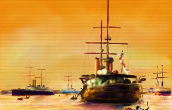 Картинка лодка, корабли, картина, морской пейзаж
