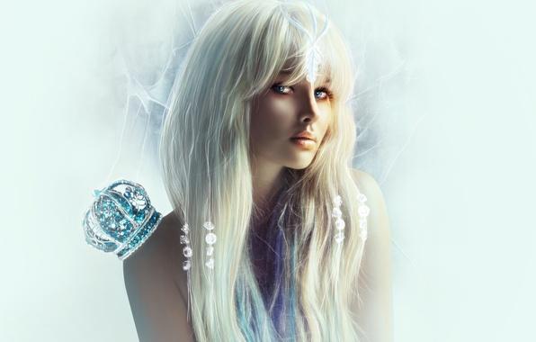 Картинка глаза, взгляд, девушка, камни, фон, корона, блондинка, плечи