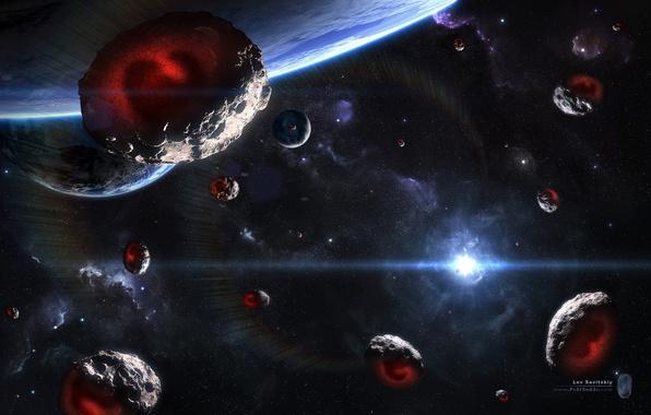 Картинка звезда, планета, Звезды, Космос, Метеориты