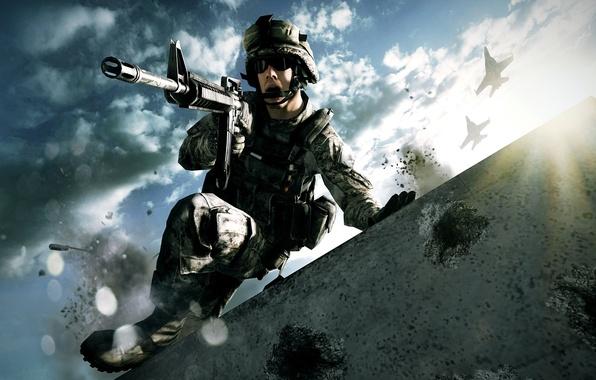 Картинка авиация, война, атака, самолеты, стрельба, крик, Battlefield, американская армия, эмоция