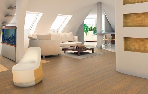 Картинка листья, цветы, дизайн, стиль, комната, диван, интерьер, растения, кресло, квартира
