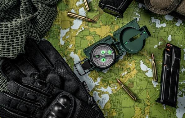 Картинка карта, ткань, перчатки, пули, патроны, компас