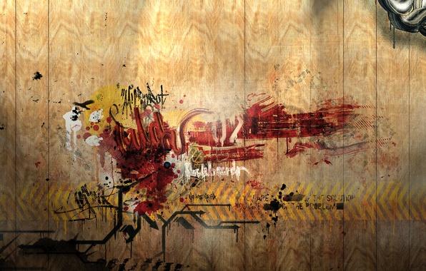 Картинка стена, надпись, граффити, деревянная