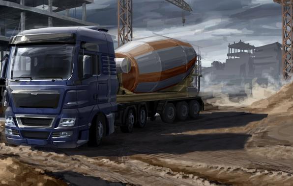 Картинка модель, арт, бетономешалка, фургон, автомобиль, живопись, прицеп, трейлер, тягач, грузовой, фура, euro truck, миксер, строительной, …