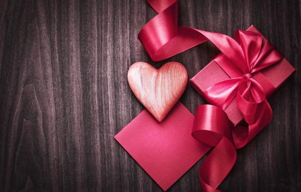 Картинка фон, праздник, коробка, подарок, розовая, сердце, лента, сердечко, День святого Валентина, Valentine's Day