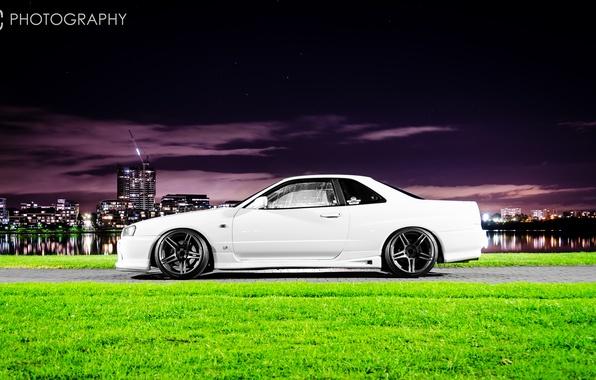 Картинка белый, ночь, город, тюнинг, GT-R, ниссан, Nissan Skyline, R34, скайлайн